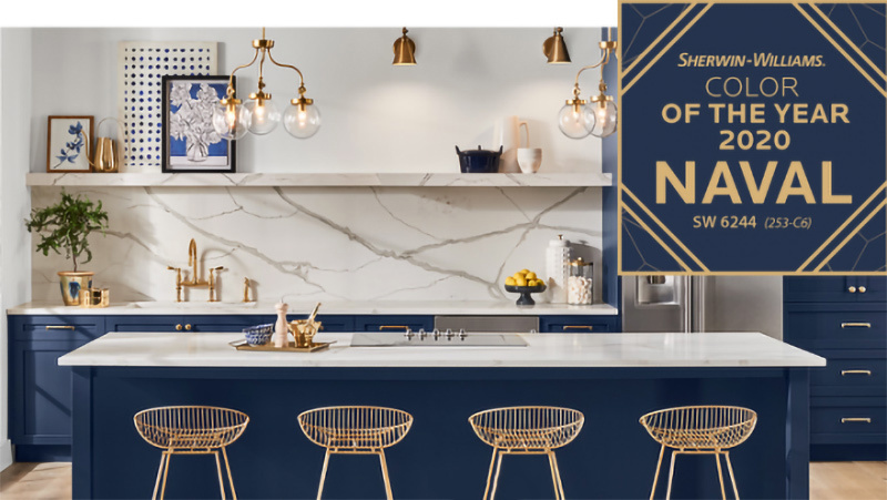 Naval Blue is the 2020 color of the year from Sherwin Williams.