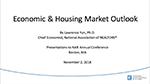 Cover of Lawrence Yun's November 2018 Economic & Housing Market Outlook presentation slides
