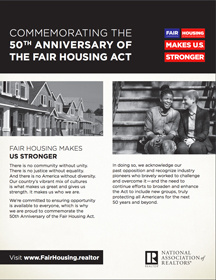 Commemorating 50 Years of the Fair Housing Act Flyer
