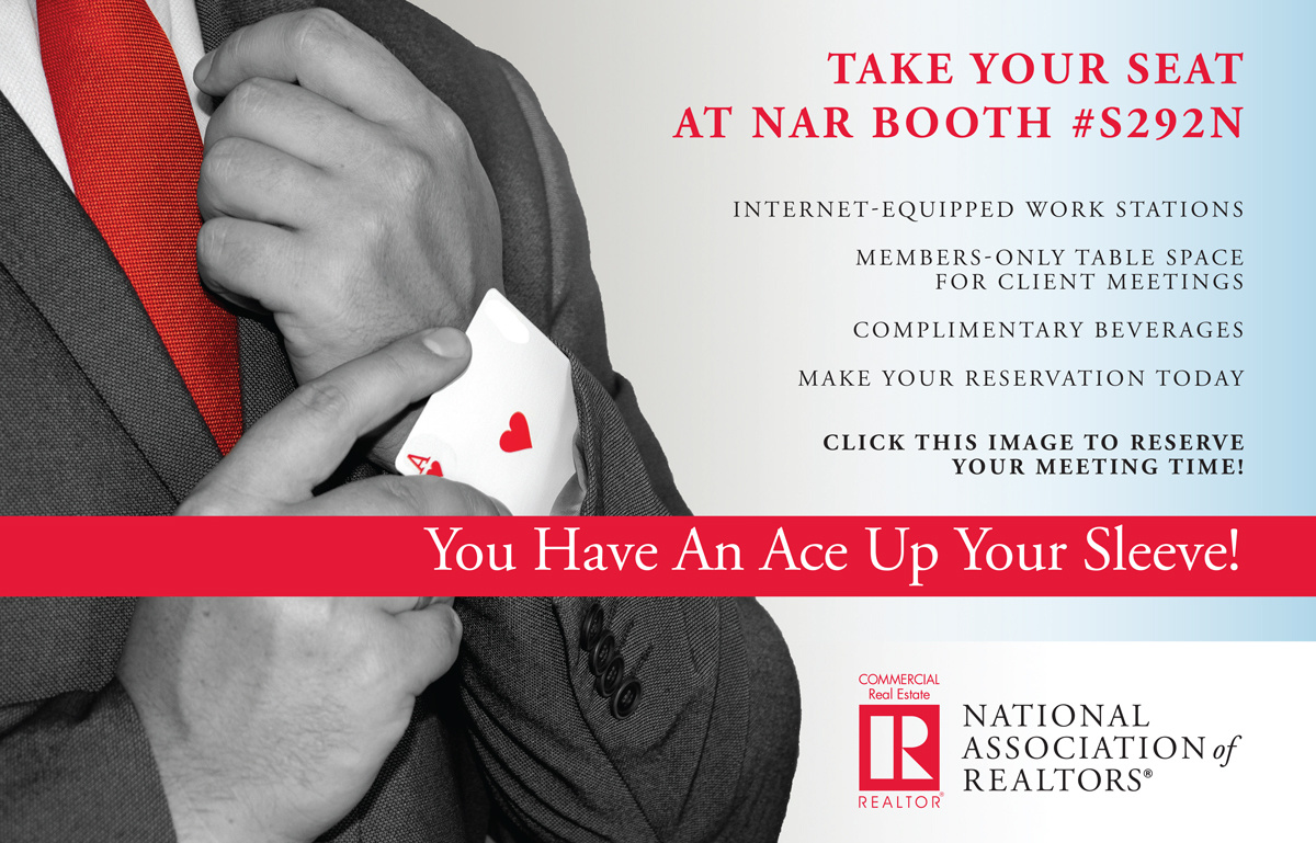 NAR's ICSC RECon 2019 booth S292N providing internet-equipped work stations, members-only table space for client meetings, etc