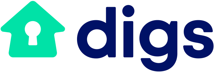 logo for digs in blue text with a green house image