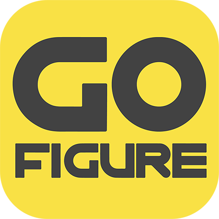 Square logo for Go Figure, with black letters against a yellow background