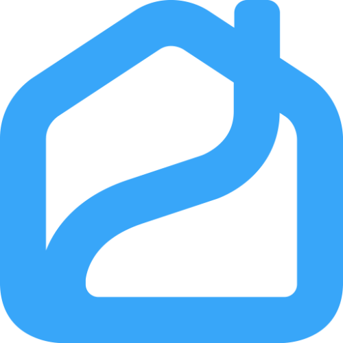 Propy logo in the shape of a house in blue outline