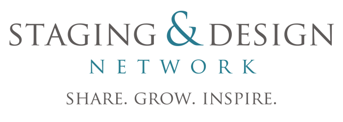 Staging & Design Network logo in black and green lettering