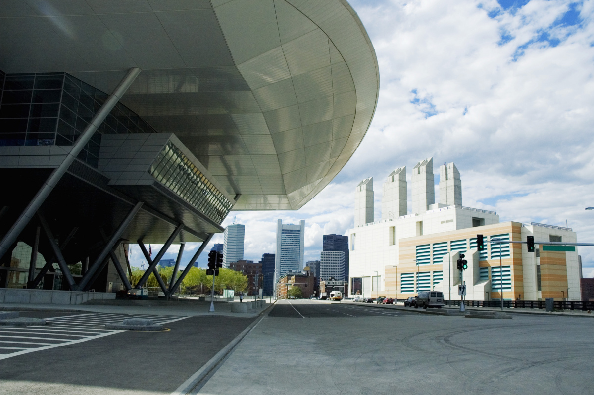 Outside the Boston Convention Center during the day