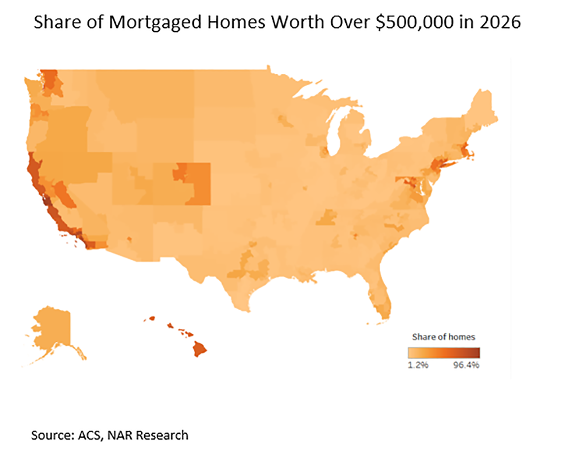 Share of Mortgaged Homes Worth Over $550,000 in 2026