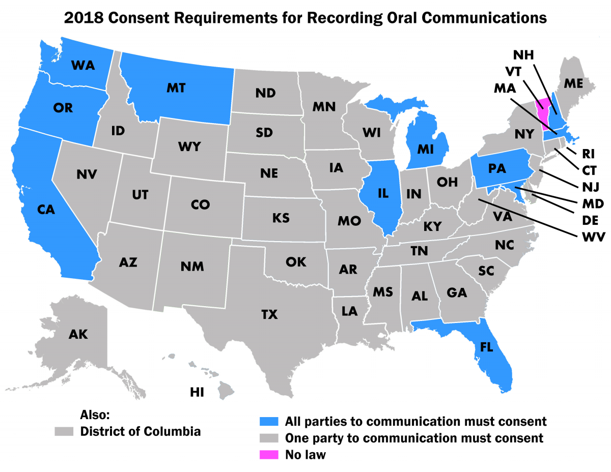 Map of Consent Requirements in the US by State
