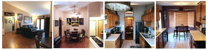 A set of 4 images of the interior of a house