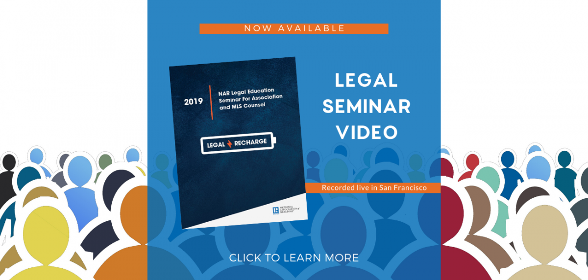 Legal Seminar 2019 Video promotion with an image of the Seminar notebook cover and people icons