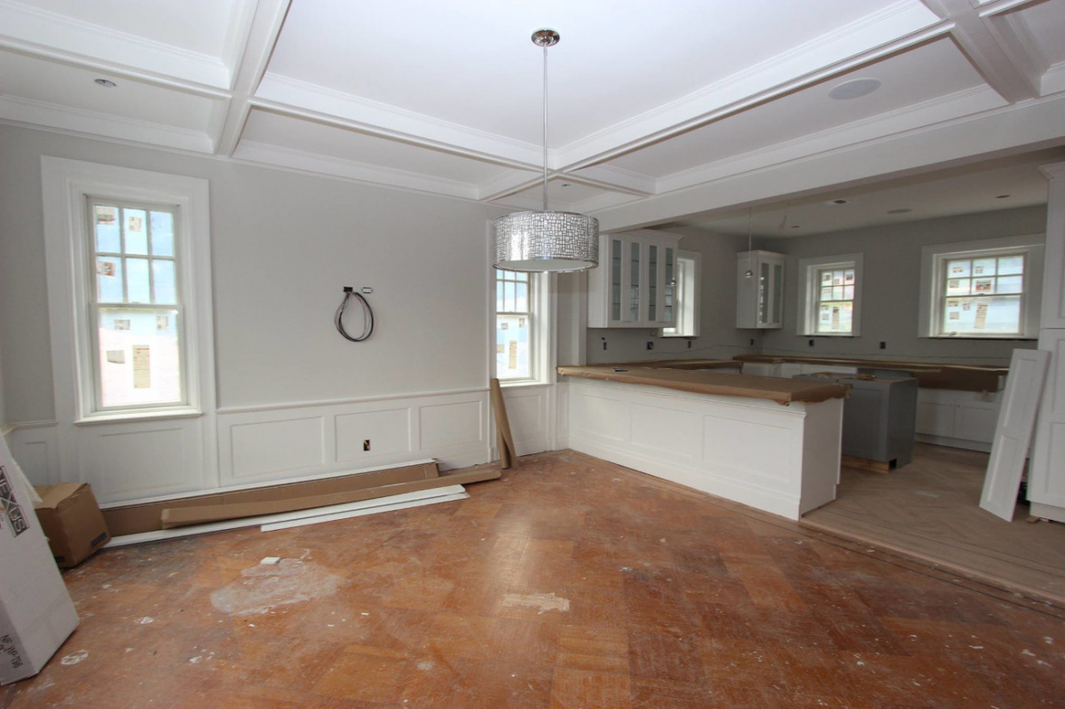 A Bare dining room during renovation.