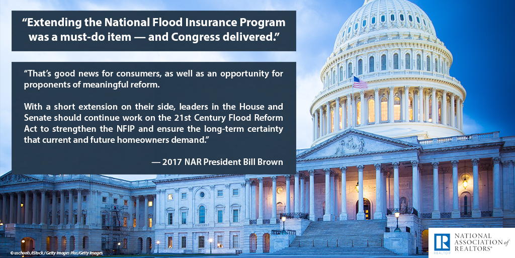 Quote from NAR President William E. Brown on the National Flood Insurance Extension, September 8, 2017.