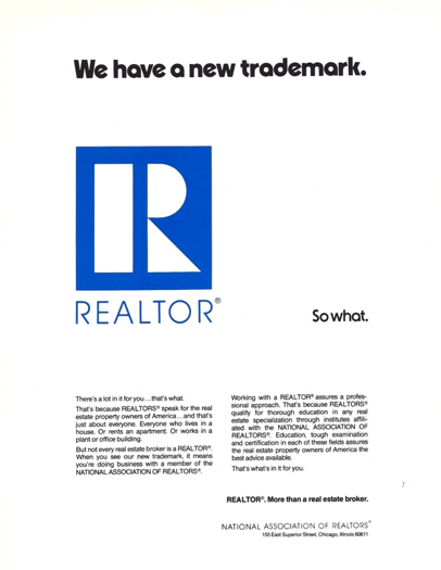 REALTOR® Trademark Info From 1972