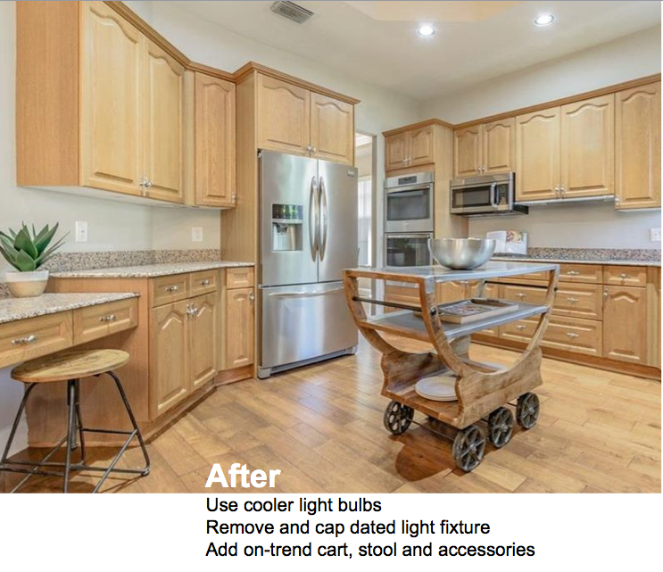 A Kitchen being shown in cool lighting