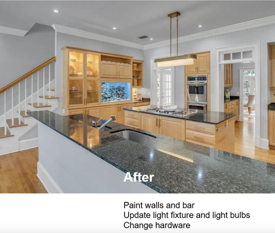 A kitchen with pendant lighting and white cabinets