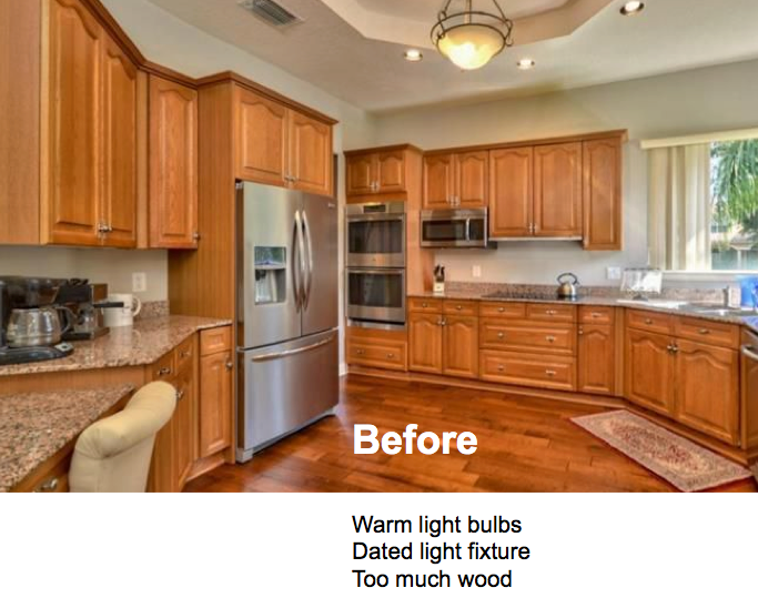 "Before image of kitchen with standard ""Warm"" lighting"
