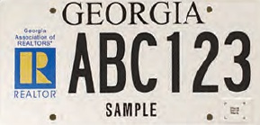 Sample Georgia REALTOR® license plate for 100th anniversary