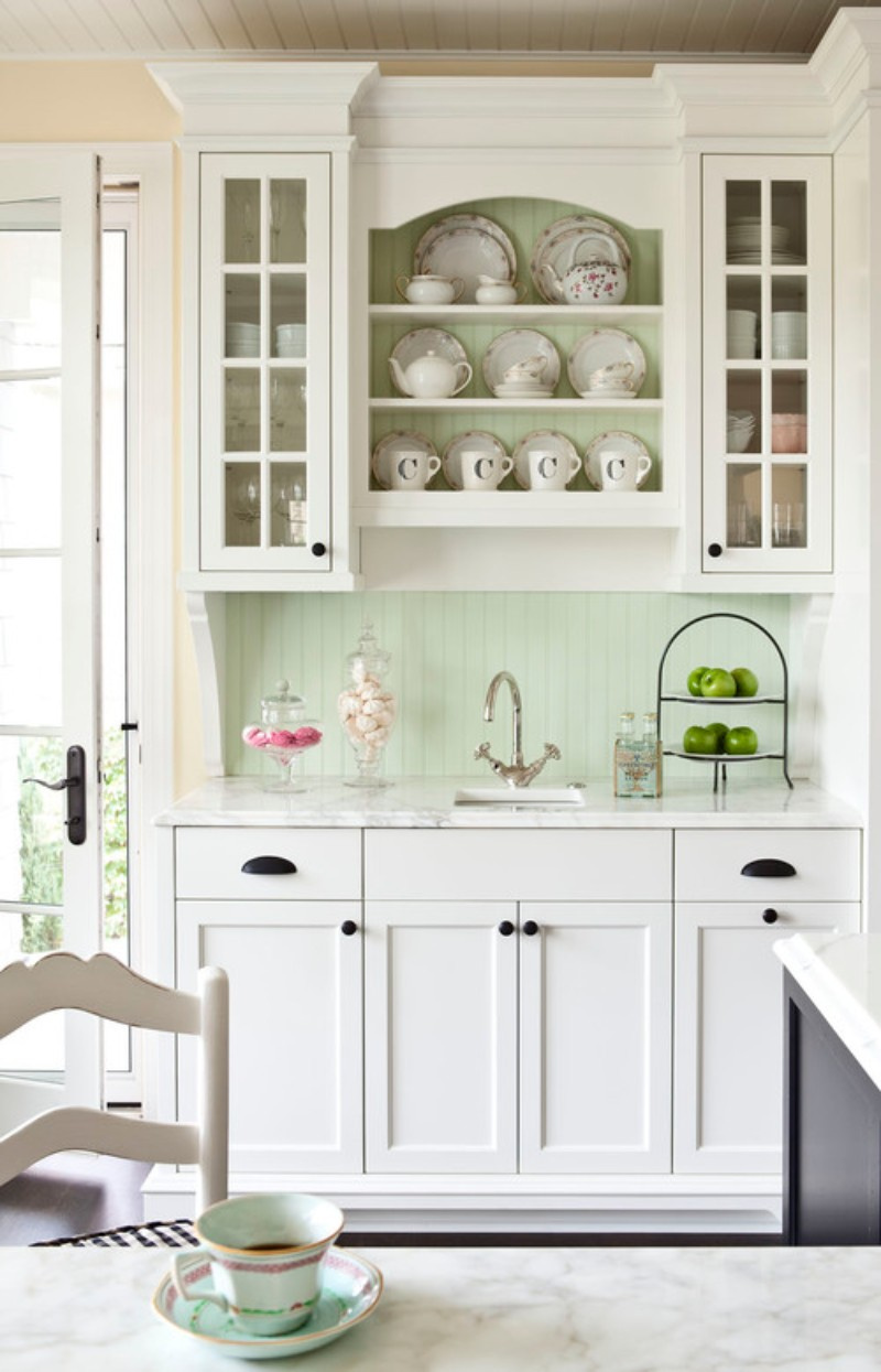 White cabinet hutch with cup pull hardware