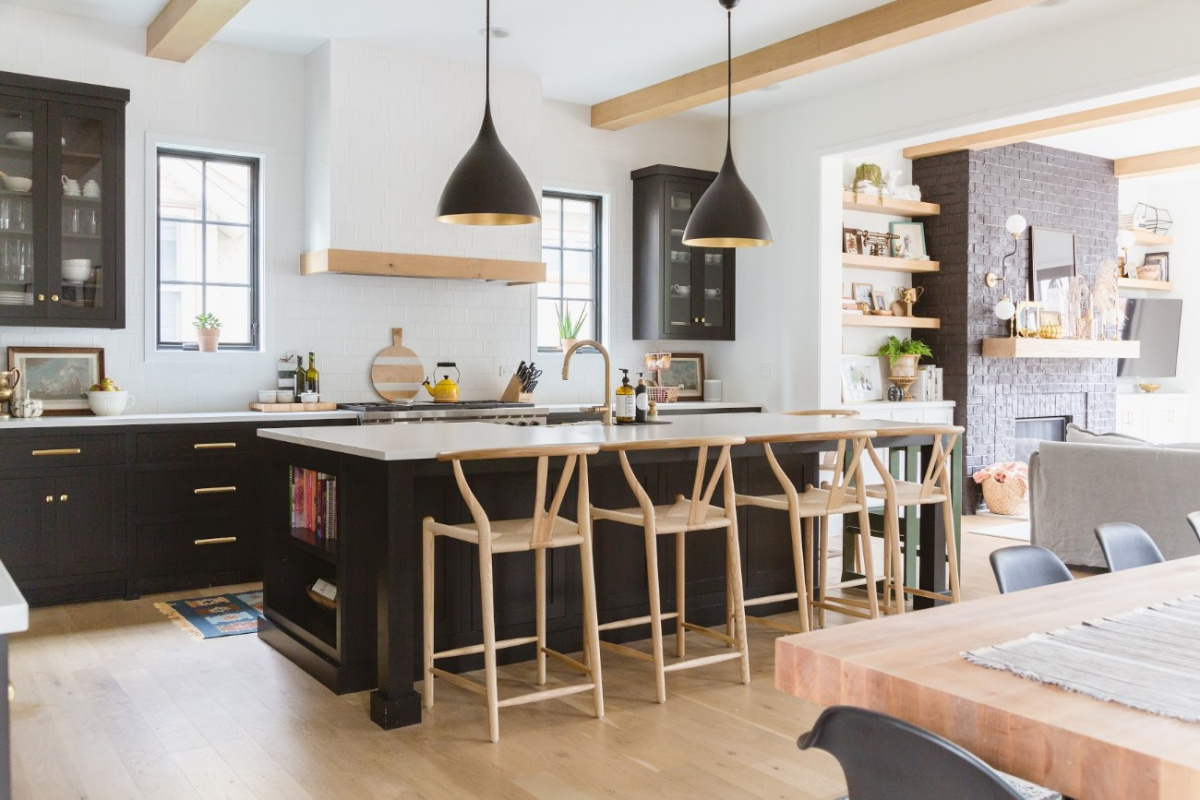 Kitchen island with black pendant lighting