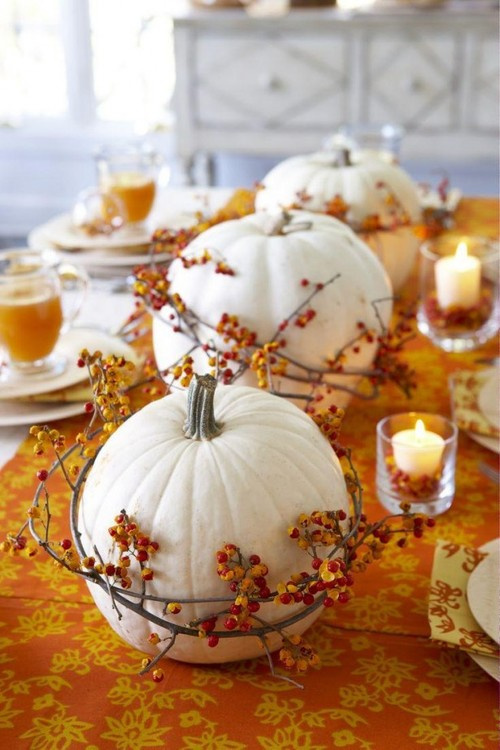 White pumpkins on a kitchen table