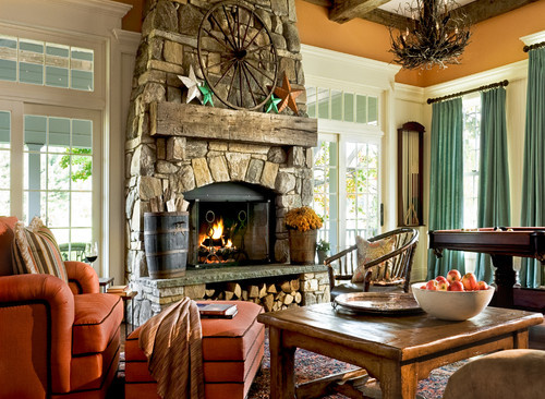 A family room with fireplace