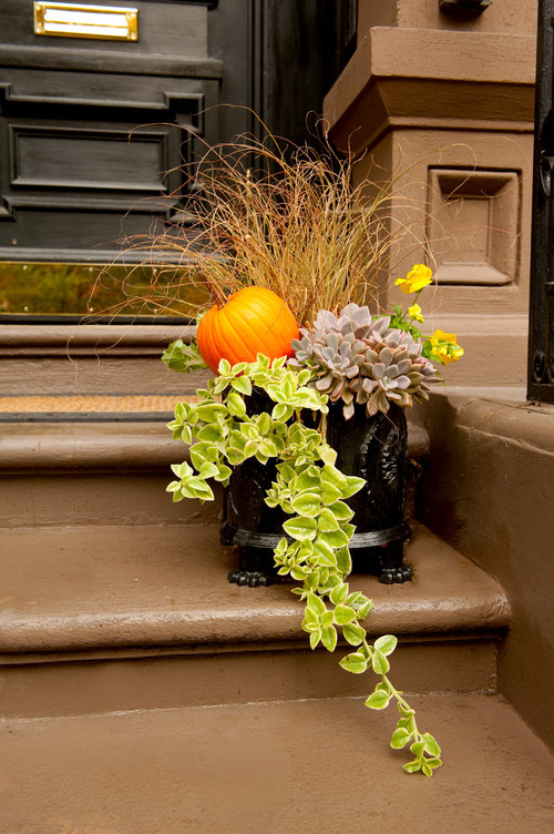 A floral arrangement on front steps with a pumpkin accent