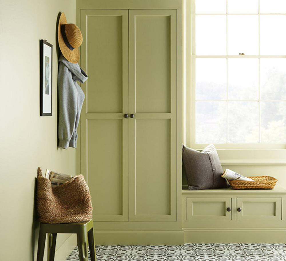 A plain green mudroom