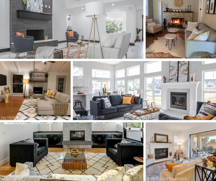 A collage of different living rooms featuring fireplaces