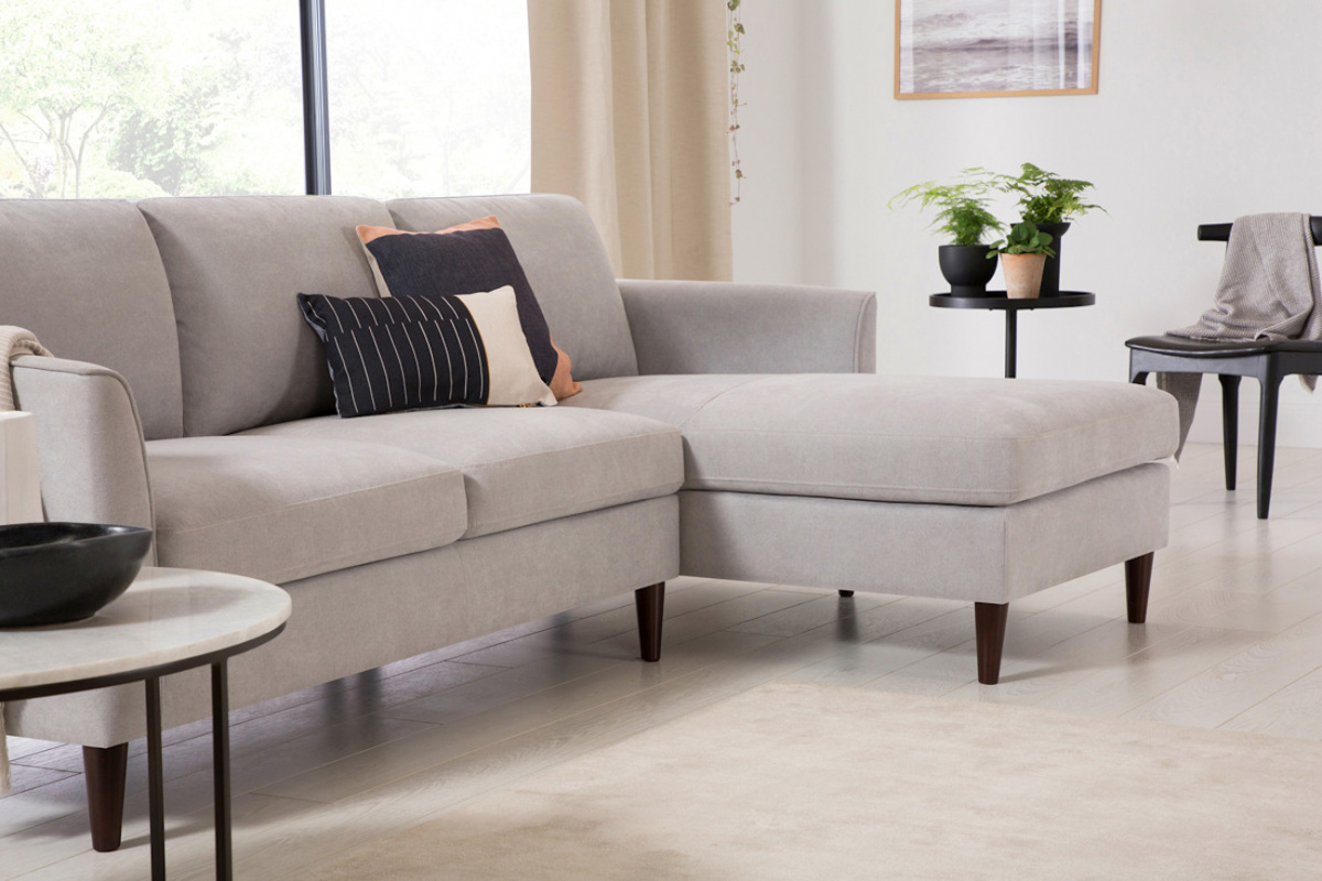 A White couch in Japandi minimal style