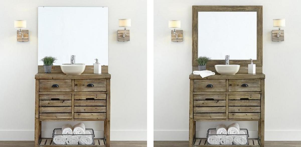 Mirror backsplash bathroom sink