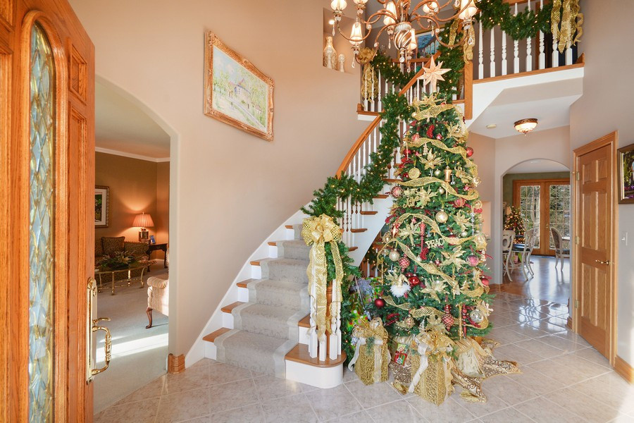 Entry Stairway with Christmas decorations