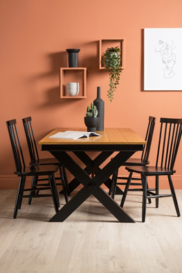 Black and Oak Extending Dining Table with 4 Pendle chairs