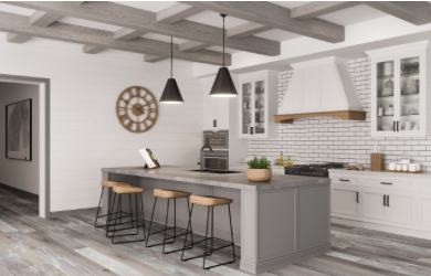 Wood beams in a kitchen