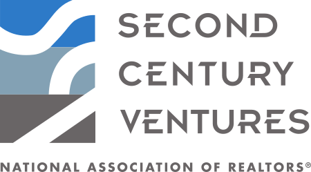 Second Century Ventures logo in blue and grey writing with graphic