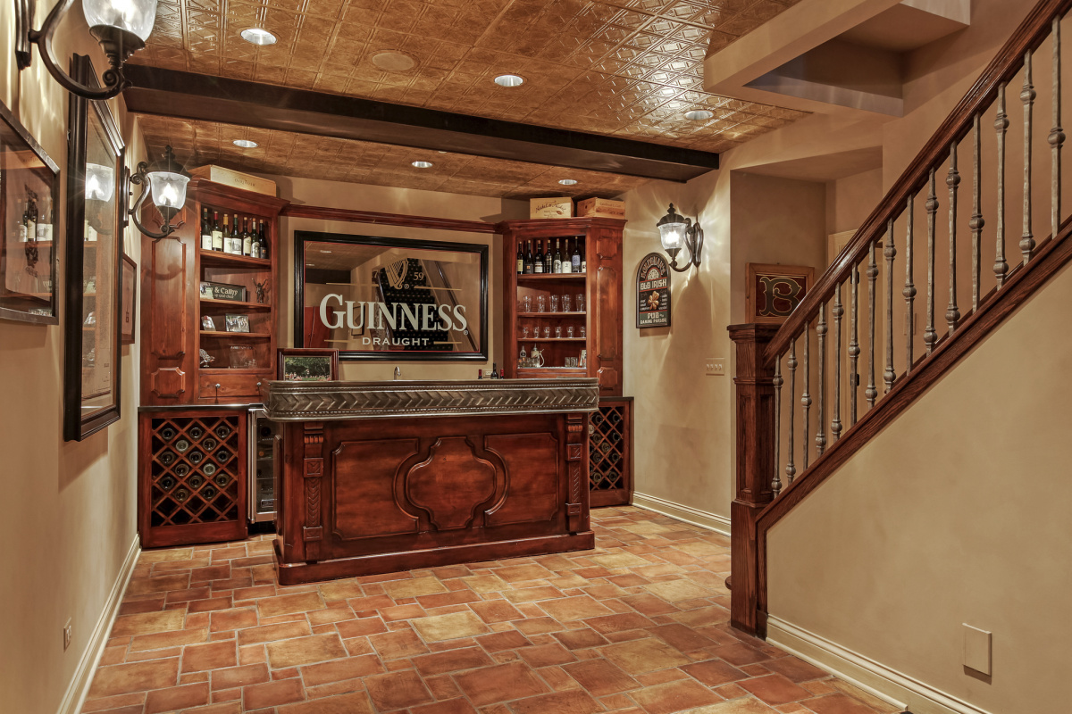 Downstairs home bar