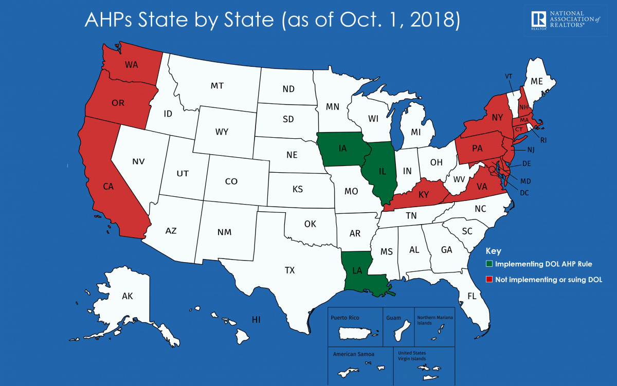 AHPs State by State (as of Oct. 1 2018)
