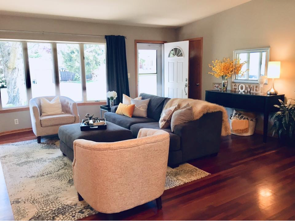 living room accented with yellow pieces