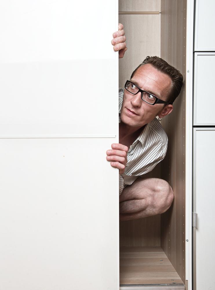 Man hiding in closet