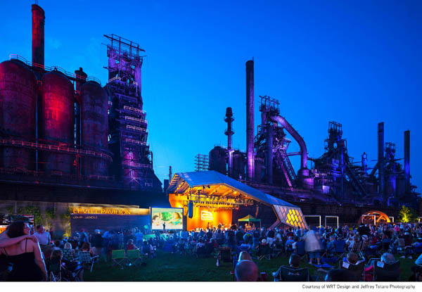 Levitt SteelStacks in Bethlehem, Pa., (located at the base of the monumental blast furnaces of the former Bethlehem Steel plant) is a potent symbol of this steel town's rebirth through arts and culture.