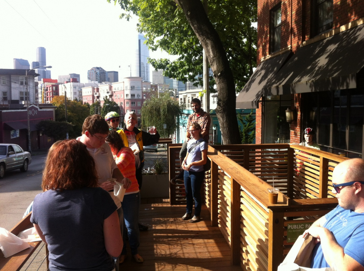 The city's first pilot parklet was the Montana parklet, which opened in Seattle's Capitol Hill neighborhood in September 2013. (Credit: Capitol Hill Blog)