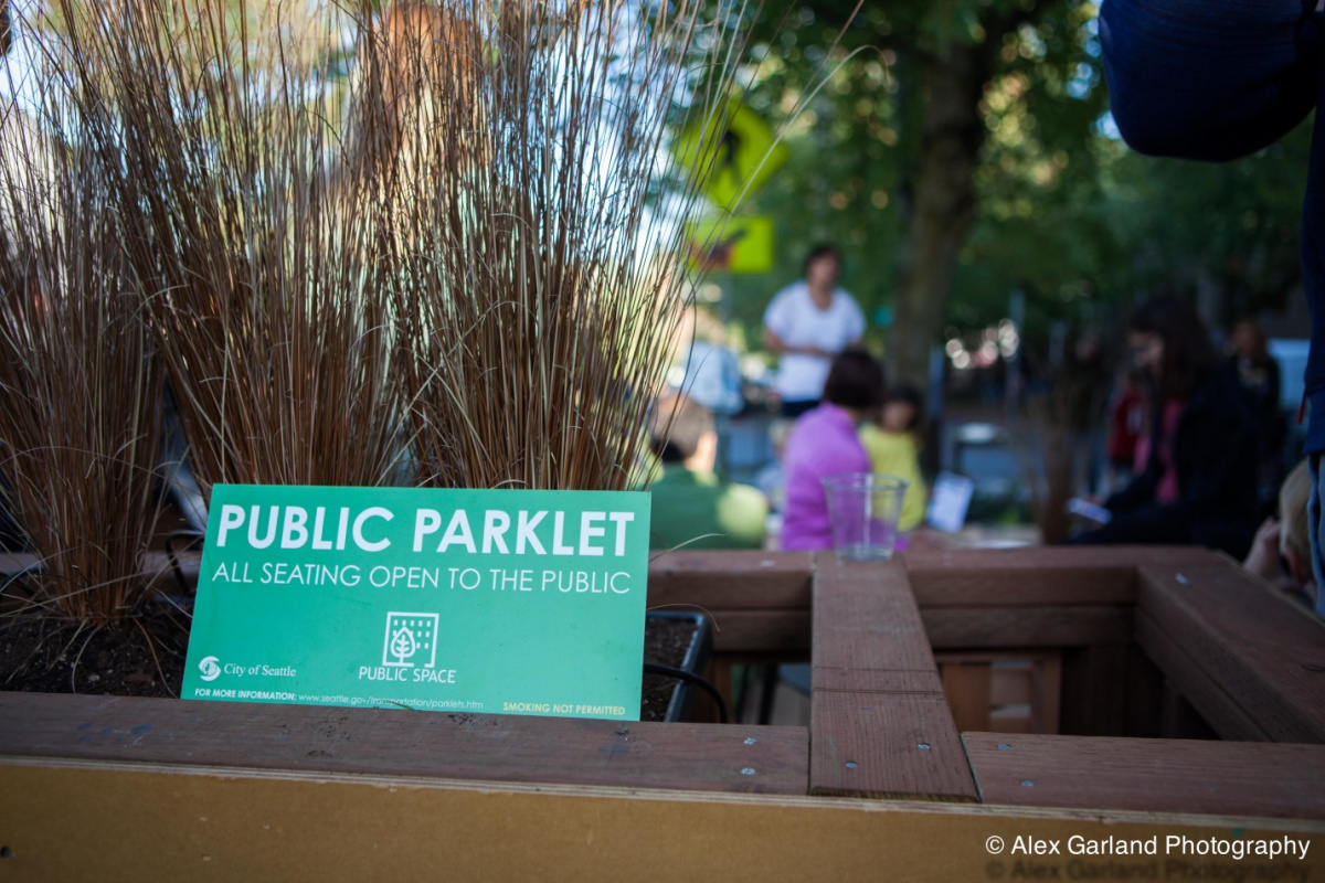 All Seattle parklets are public open space, free for use by anyone. Parklets are an easy way to build new places for people and allow businesses and community groups to exercise their creativity. (Credit: Alex Garland Photography)
