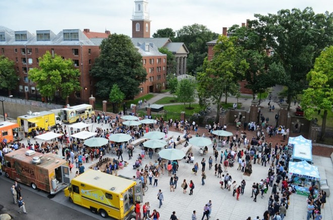The Plaza from above during its opening | Photo courtesy Harvard Campus Services