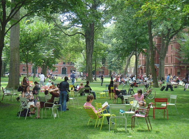 The Placemaking momentum at Harvard began with movable seating in Harvard Yard – a space unchanged for hundreds of years | Photo by PPS