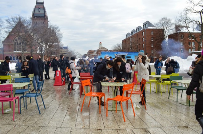 Even when the weather is poor, people congregate on The Plaza for food trucks and socialization | Photo by PPS