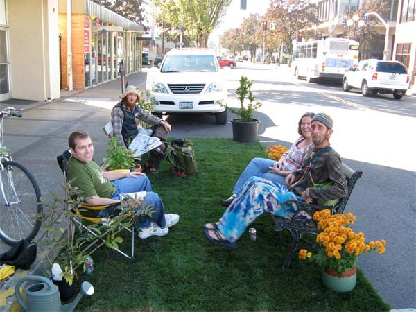 A simple PARK(ing) Day installation. Credit: Park(ing) Day FLICKR Pool.