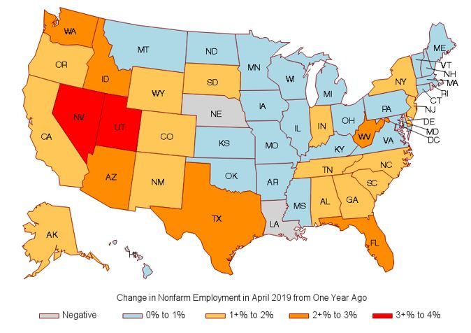 Map: Change in Non-farm Employment in April 2019 from One Year Ago
