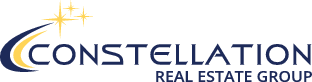 Constellation Real Estate Group logo in black text with black and gold stars