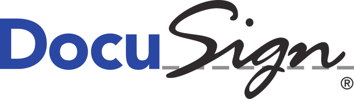 docuSign logo in blue and black lettering