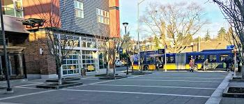 A bus terminal in an urban area