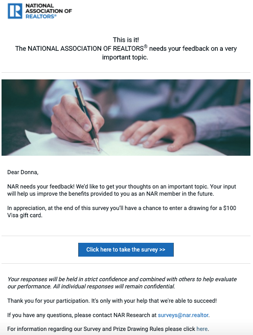 Email asking an NAR member to participate in a survey