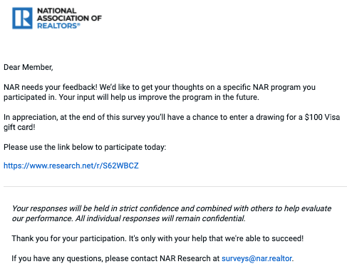 Letter asking an NAR member to participate in a survey